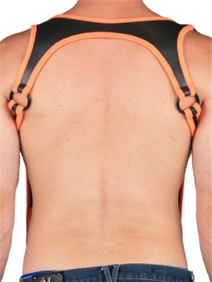 665 Neoprene Heckler Harness Neon Orange/Black (Back Cover)