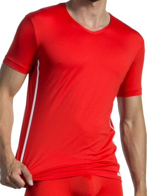 Olaf Benz V-NeckT-Shirt  Regular RED1435 Red/White (Front Cover)