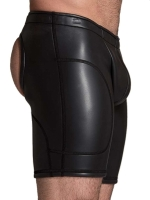 665 Leather Neoprene Open Ass Long Shorts Black