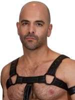 665 Leather Bulldog Neoprene Harness Black
