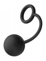 Tom of Finland Silicone Cock Ring With Heavy Anal Ball Black