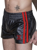 BoXer Leather Sports Shorts Black/Red Stripes