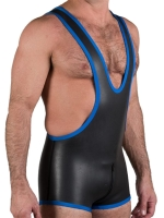 Neoprene Zip-Thru Wrestling Singlet Black/Blue
