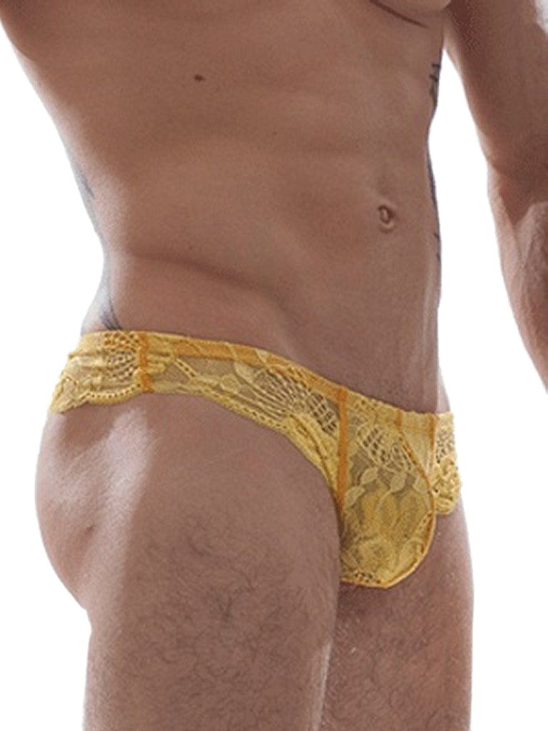 GBGB Raffy Lace Yellow Lingerie Mens Underwear CD Crossdressing ...