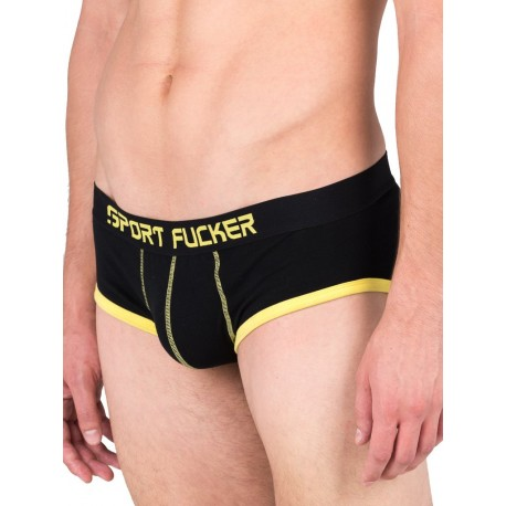 Sport Fucker Endurance Brief Underwear Black/Yellow (T4900)