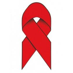 Red Ribbon / Aidsschleife Aufkleber / Sticker 5,5 x 13 cm / 2 x 5 inch (T1038)