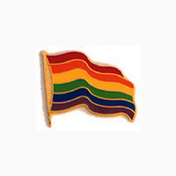 Pin Regenbogen Flagge/ Rainbow Waving Flag (T1049)