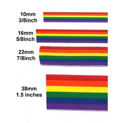 Rainbow Stripe Ribbon 7/8inch / 22mm wide 10m (T1534)