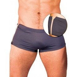 GBGB Santos Swim Boxer Swimwear Grey/White Zipper