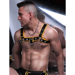 BoXer Shoulder Leather Harness w/ Ring Hook Black/Yellow (T5381)