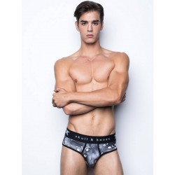 Skull & Bones Tossed Skull Brief Underwear Black (T6032)