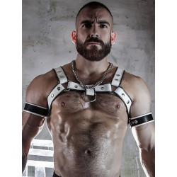 BoXer Shoulder Leather Harness w/ Ring Hook White/Black (T5953)