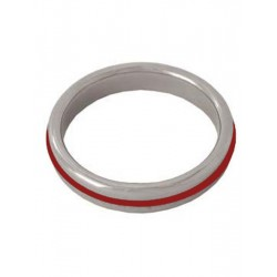 Stainless Steel Cockring with RED Band (T3251)