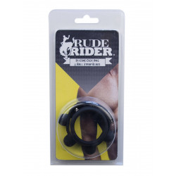 RudeRider Silicone Cock Ring & Ball Strap Black (T6258)
