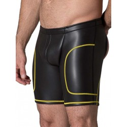 665 Leather Neoprene Open Ass Long Shorts Black/Yellow (T3356)