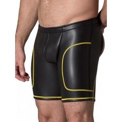 665 Neoprene Open Ass Long Shorts Black/Yellow (T3356)
