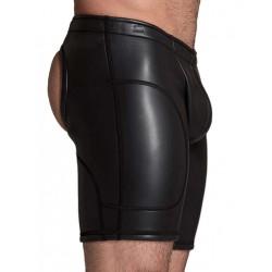 665 Leather Neoprene Open Ass Long Shorts Black (T3357)