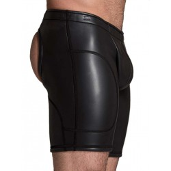 665 Leather Neoprene Open Ass Long Shorts Black (T3357)