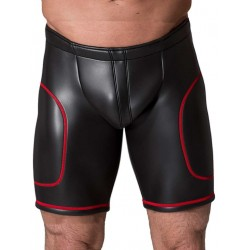 665 Leather Neoprene Open Ass Long Shorts Black/Red (T3358)