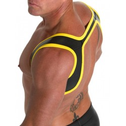 665 Leather Neoprene Slingshot Harness Black/Yellow (T3406)