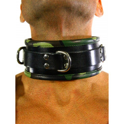 RudeRider Collar 3 D-Ring with Padding Leather Camo One Size (T7359)