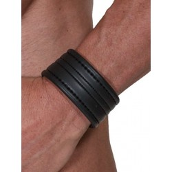 665 Leather Neoprene Wristband Bracelet Black (T3512)