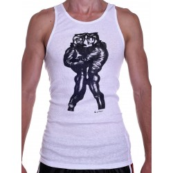 Tom of Finland Leather Duo Tank Top (Euro Size) White (T3657)