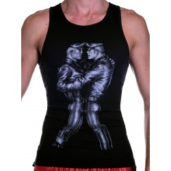 Tom of Finland Leather Duo Tank Top (Euro Size) Black (T3675)