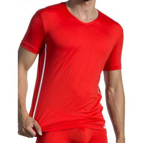Olaf Benz V-NeckT-Shirt Regular RED1435 Red/White (T3918)