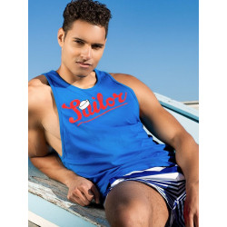 2Eros Anchor / Sailor Singlet Tank Top Blue (T3996)