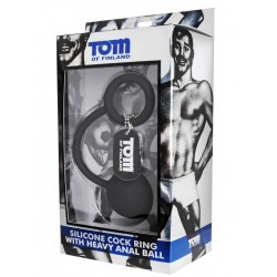 Tom of Finland Silicone Cock Ring With Heavy Anal Ball Black (T4281)