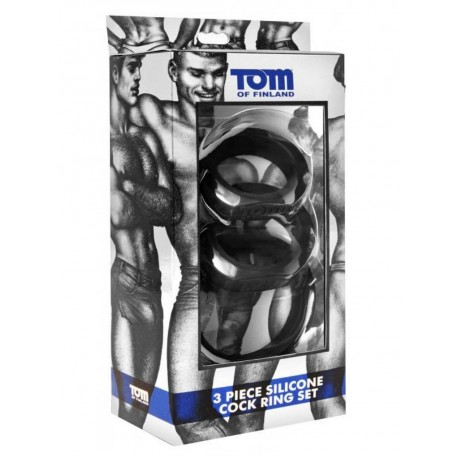 Tom of Finland Cock Ring 3 Piece-Set Silicone Black (T4278)