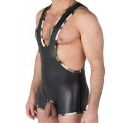 665 Neoprene Open Crotch Wrestling Singlet Black/Camo (T4481)