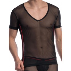 Olaf Benz V-Neck T-Shirt X-Low RED1606 Black (T4708)