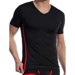 Olaf Benz V-Neck T-Shirt Regular RED1604 Black/Red (T4726)
