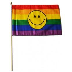 Regenbogenflagge / Rainbow Flag Smiley 30 x 45 cm (T4716)