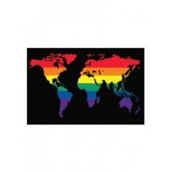 Rainbow World Flag Aufkleber / Sticker 5.0 x 7,6 cm (T4733)