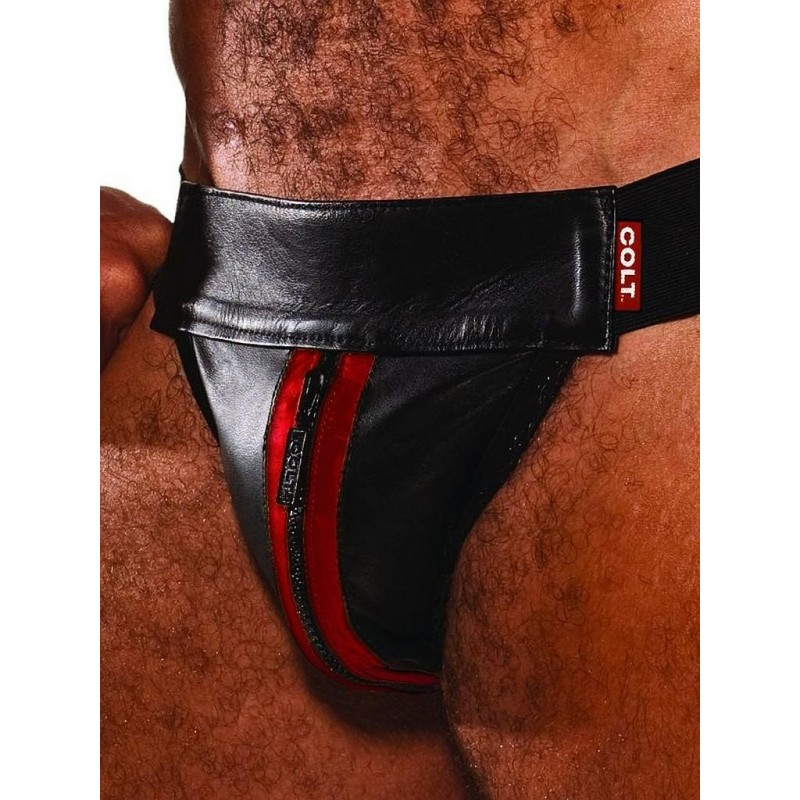 Colt Leather Zip Jock - Red (T0023)
