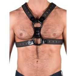 665 Leather NeoFlex Neoprene Harness Black/Orange (T4981)