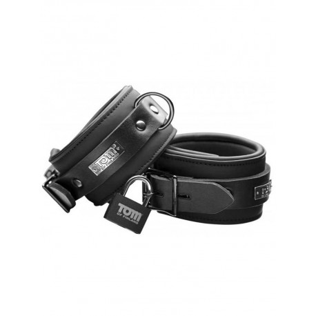 Tom of Finland Ankle Cuffs Neoprene Black With Locks (T4286)