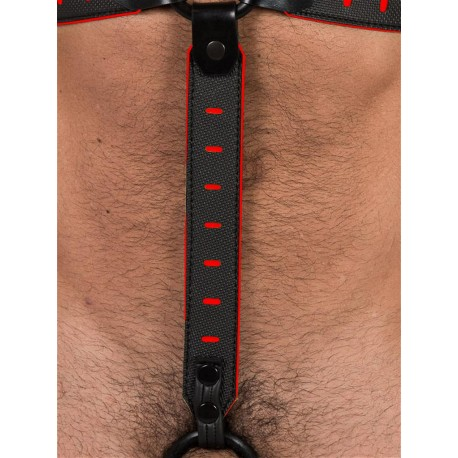 665 Leather NeoFlex Down Strap Neoprene Harness Extension Regular Black/Red (T4976)